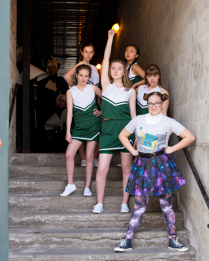 Promotional photo for the Egyptian Youtheatre production of *CHEERLEADERS VS. ALIENS*, photo by Amy Livingston.